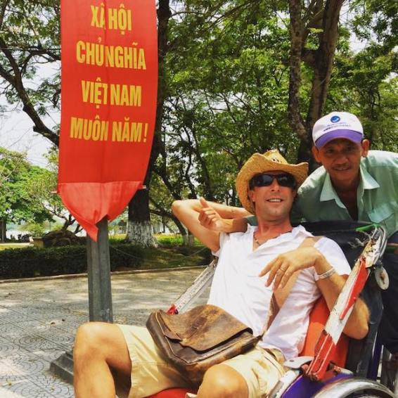 Matt with his Cyclo rider in Hue
