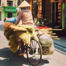 Bicycles have substituted brooms!