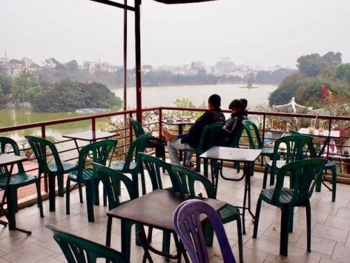Terrace overlooking Hoam Kiem Lake