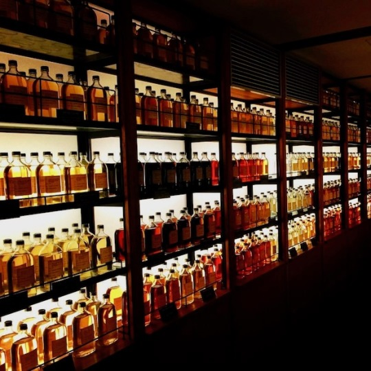 Display of whisky bottles