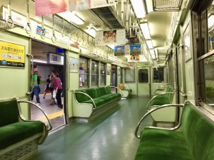 Typical train carriage on the Keihan Line
