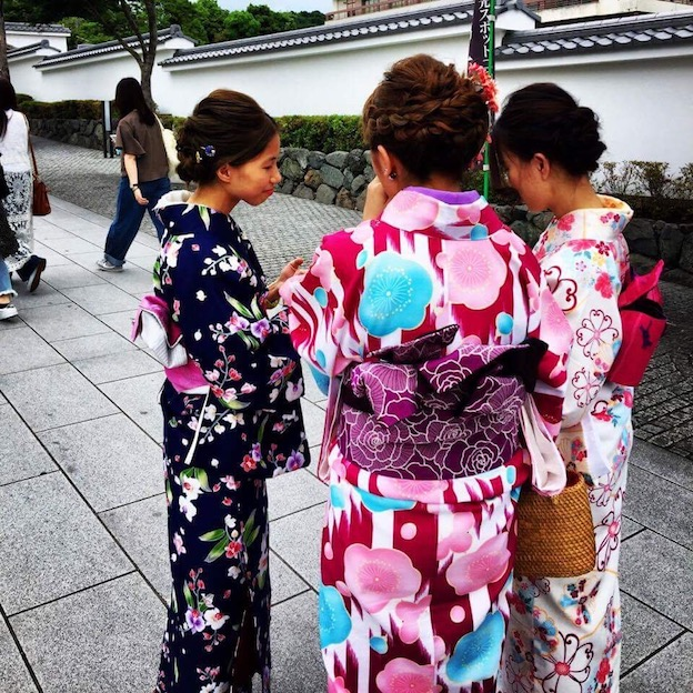 Girls dressed up in Kimonos for the day