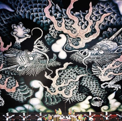 Beautiful art on the wall of the Pagoda