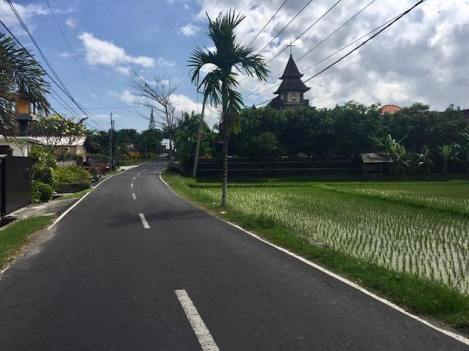 Road in Canggu with Church to the right