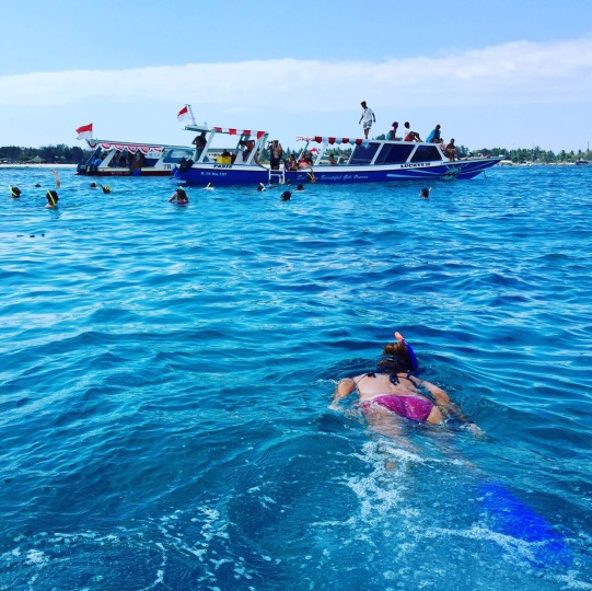 We were snorkelling off Gili Meno