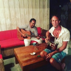Matt and the owner of Mirage Bar having a Jam