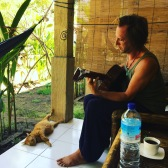 We have company on our porch at Yellow Coconut Homestay on Gili T