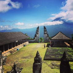 View of the gates and Mt Agung Volcano