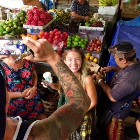 At the food market with Ketut getting some produce for the cooking class
