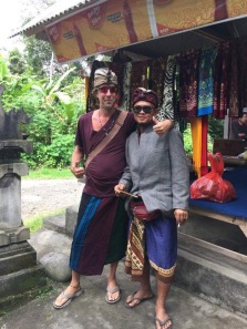 Matt and Gede in full dress for purification at Sebatu Temple
