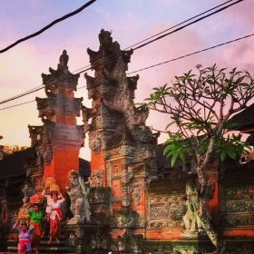 Ubud temple in town