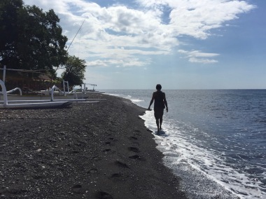 Walking on Amed Beach