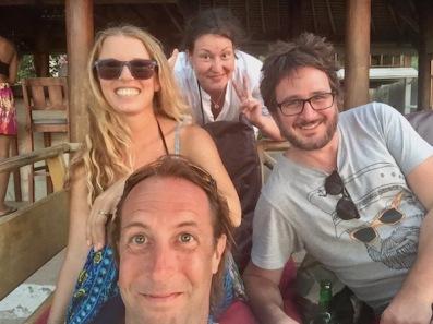 New friends at Mirage Bar on Gili Air
